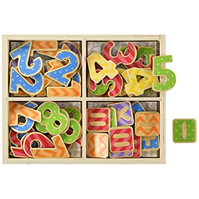 Bigjigs Toys Educational Wooden Magnetic Numbers, Multicolored: Toys & Games