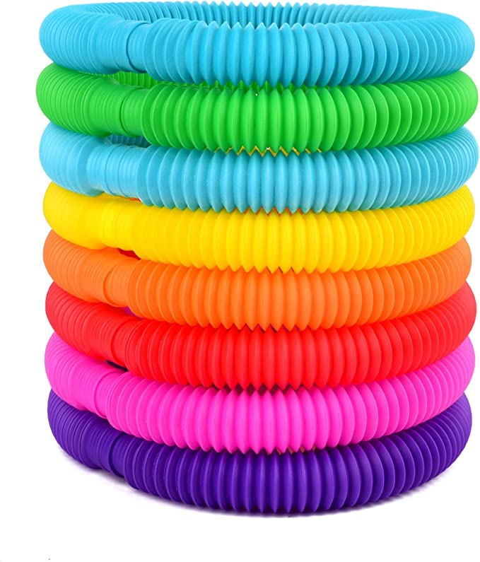 Color Stretch Tube with Funny Pop Sounds Telescopic Bellows Sensory Toys PINEsong Fun Sensory Stretch Tubes