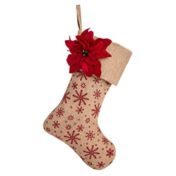 Sanno 18 Christmas Stockings Hanging Burlap Decorations Christmas Stocking With Red Poinsettia Flower Design Snowflakes Craft Socks Decorations