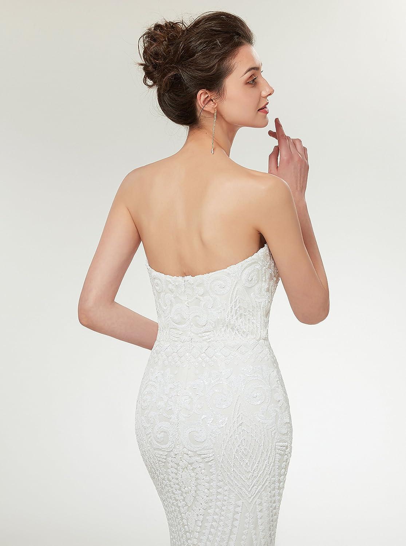 Ikerenwedding Womens Jewel Sequins Floor-Length Mermaid Evening Dress