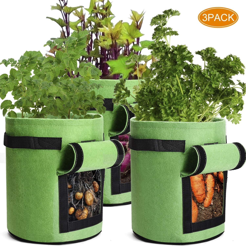 3 Pcs Garden Potato Planting Bag with Access Flap and Handles, 7 Gallon Potato Tomato Planter Bag Non-Woven, Hook & Loop Window Vegetable Peanut Growing Box Bucket Pot for Nursery Garden (Green)