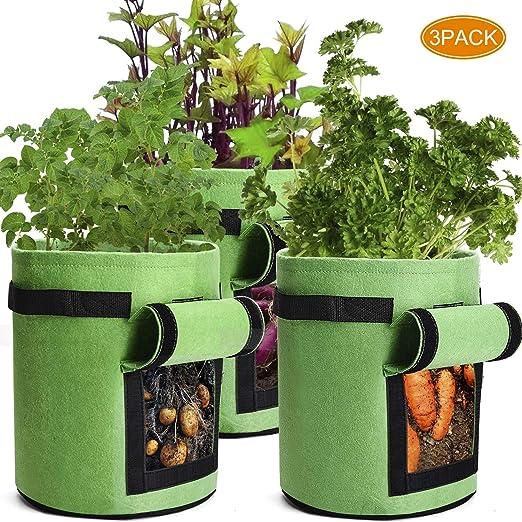 3 Bolsas de Cultivo de Patatas de jardín con Solapa y Asas, macetas de Tela Resistentes, 10 galones Bolsa para Plantar Patatas y Tomates (Verde): Amazon.es: Jardín