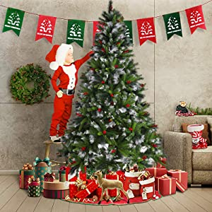 B BAIJIAWEI 7.5 ft Pre-lit Artificial Christmas Tree - Flocked Snow Christmas Tree Includes Pre-Strung White Lights and Stand - Xmas Pine Tree for Outdoor and Indoor Decor (Style - A)