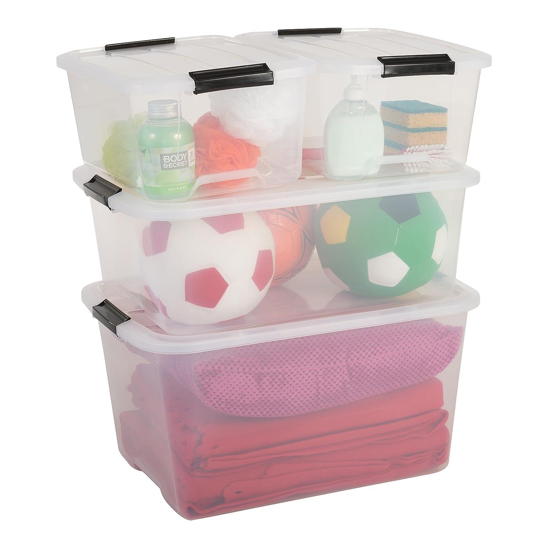 Juego de cajas transparentes de plástico con tapa. Muchas opciones de diseños y tamaños.