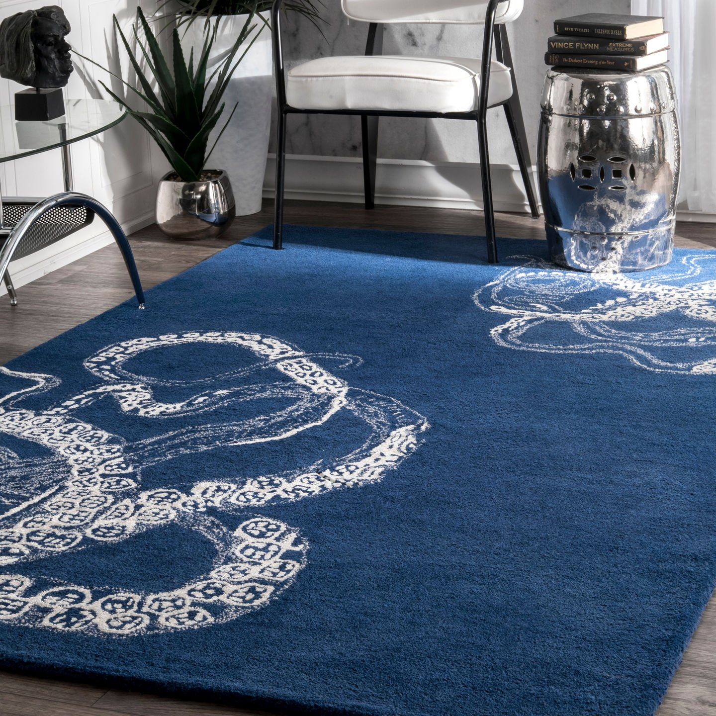 nuLOOM Octopus Tail Abstract Wool Rug, 4 x 6 , Navy