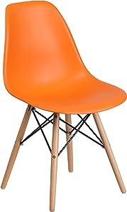 Flash Furniture Elon Series Orange Plastic Chair with Wooden Legs