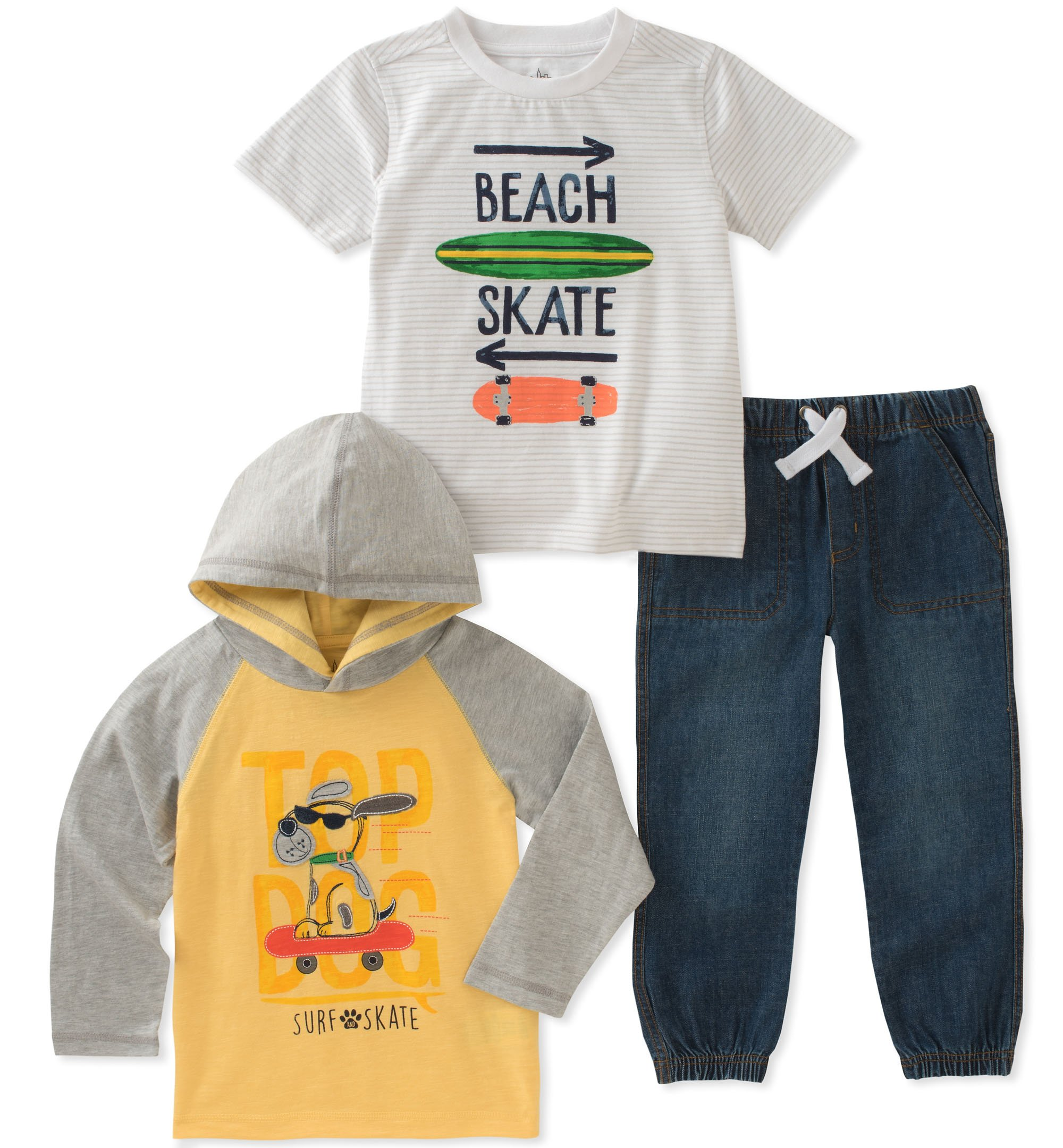 Kids Headquarters Toddler Boys' 3 Pieces Pants Set, Yellow/Gray, 3T