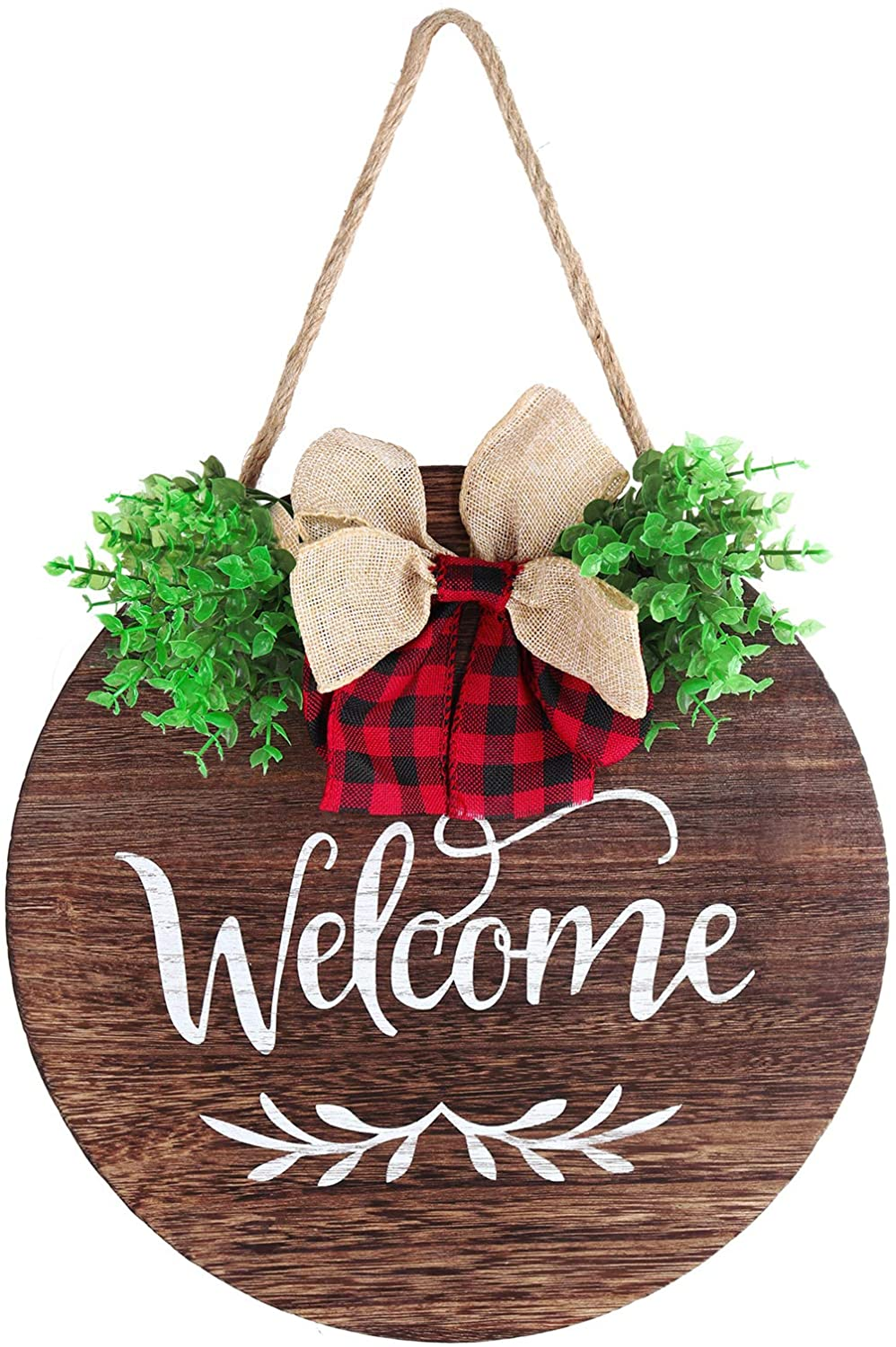 Mocoosy Welcome Sign for Front Door Decor, Round Wood Hanging Sign, Front Door Welcome Wreaths, Rustic Wooden Welcome Signs Door Hangers Farmhouse Porch Home Decorations