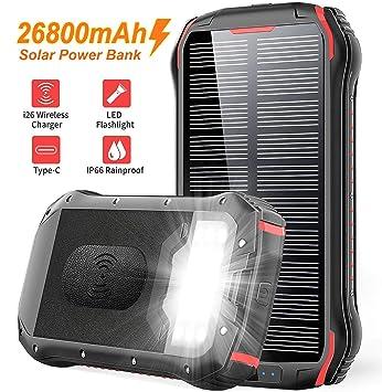Solar PowerBank 26800mAh Cargador Solar, QI Carga inalámbrico, batería externa de 4 puertos (USB/ QI), carga rápida 3.1A tipo C para Tabletas, ...
