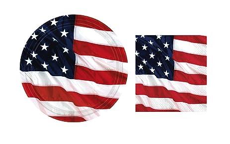 Flying Colors American Flag Plates and Napkins Set Serves 8 (Dessert/Beverage)  sc 1 st  Amazon.com & Amazon.com: Flying Colors American Flag Plates and Napkins Set ...
