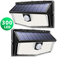 300 LED Luci Solari Esterno,【Nuovo design nel 2019】Luce Solare con Sensore di Movimento, 270ºIlluminazione wireless Lampada Solare per Giardino, Parete Wireless Risparmio Energetico