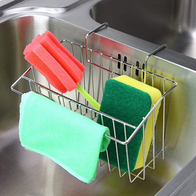 Plastic Sink Caddy Holder YIWINIAID Hanging Kitchen Sink Caddy Organizer with Adjustable Strap and Drain Holes for Drying Green+Green