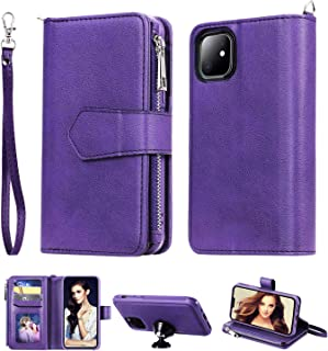 iPhone 11 Wallet Case,Detachable 2 in 1 case Fit Car Phone Mount Magnet Closure Premium Leather Zipper Purse FLYEE 8 Card Slots Flip Cover with Wrist Strap for Apple iPhone 11 6.1inch [Purple]