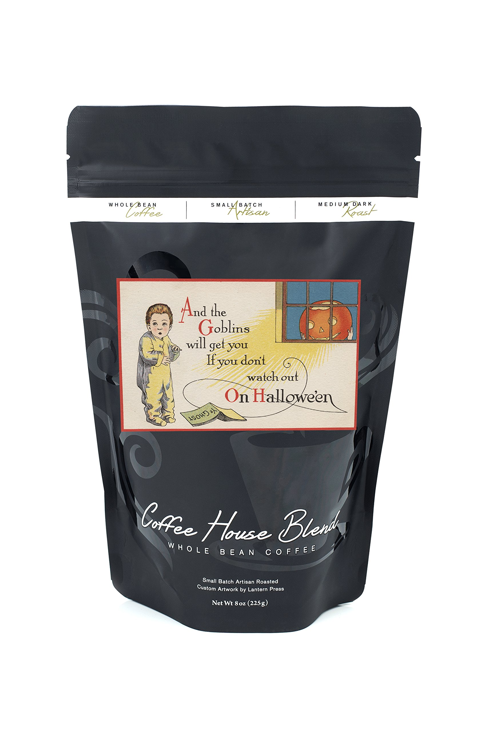 Halloween Greeting - Goblin in Window (8oz Whole Bean Small Batch Artisan Coffee - Bold & Strong Medium Dark Roast w/Artwork)
