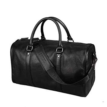 FEGER Mens Black Leather Holdall Travel Duffle Overnight Bag Carry ...