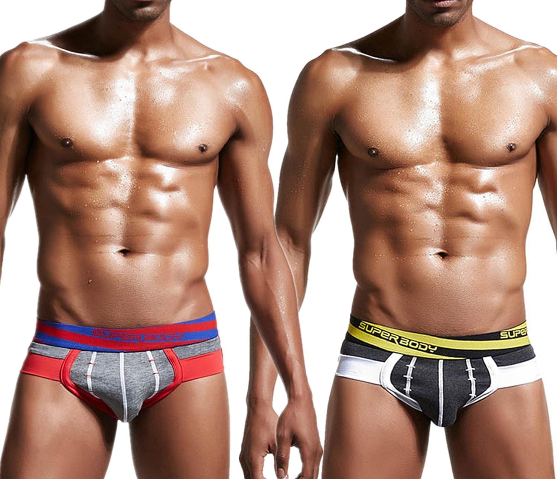 AiJump Pack de 2 Calzoncillos Trunks Briefs Slips para Hombre Ropa Interior Boxer Shorts Transpirable de Hombre Forma U Men Underwear