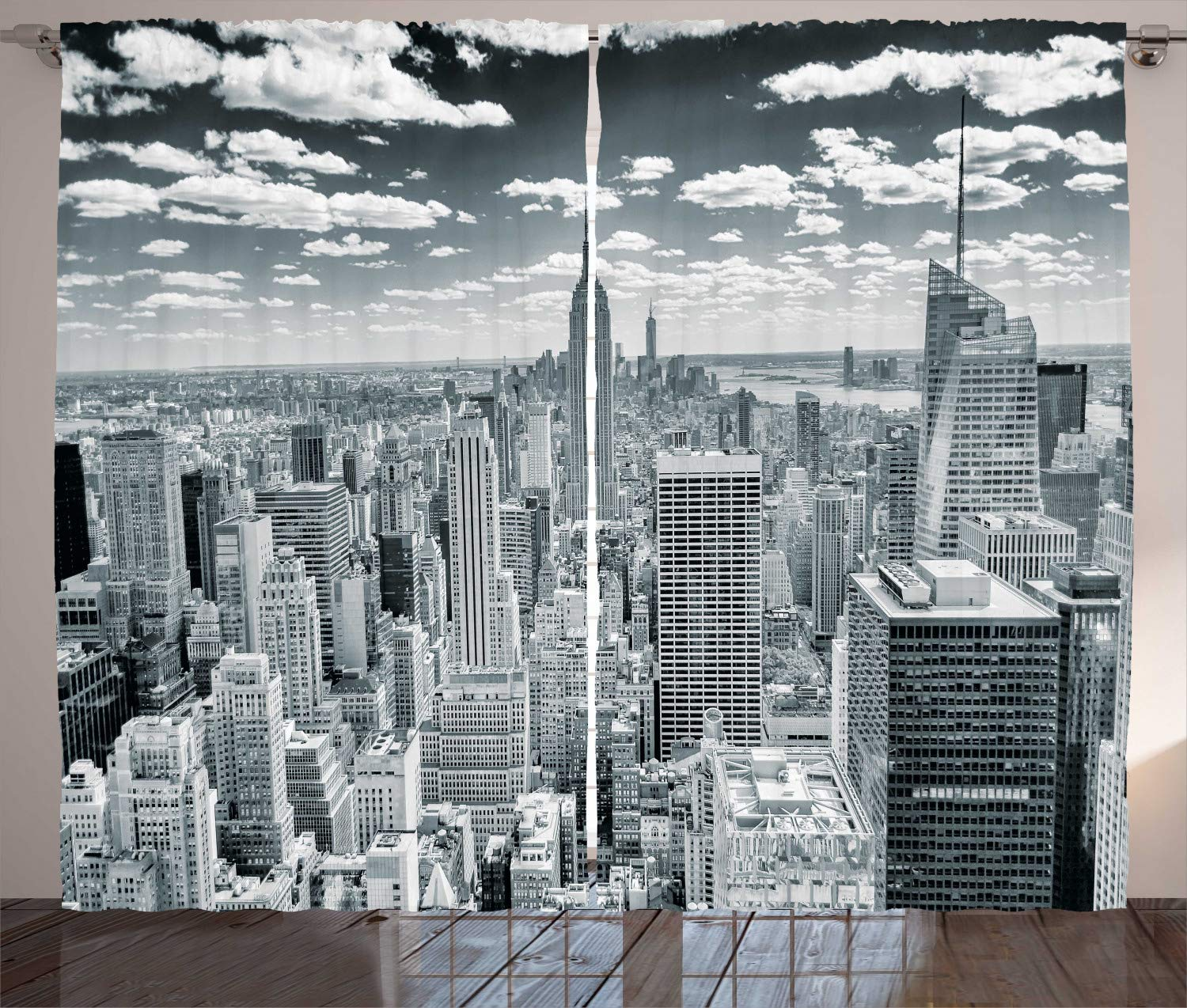 Ambesonne New York Curtains Decor, NYC Over Manhattan from Top of Skyscrapers Urban Global Culture Artful City Panorama, Living Room Bedroom Window Drapes 2 Panel Set, 108 W X 90 L Inches, Grey
