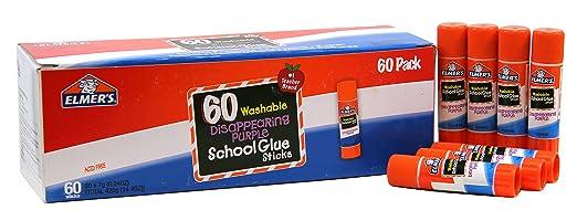 Elmer's Disappearing Purple School Glue Sticks, 0.24 Ounce Each, 60-Pack (E503)