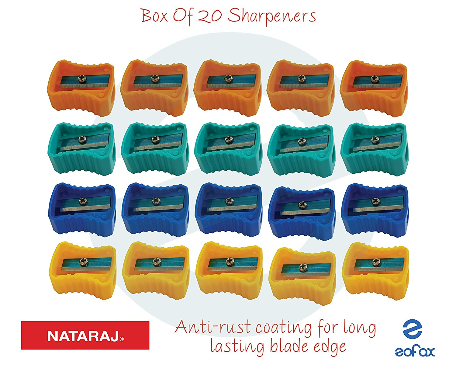 NATARAJ Box of 20 Pencil Sharpeners Assorted Colours School College Home Art