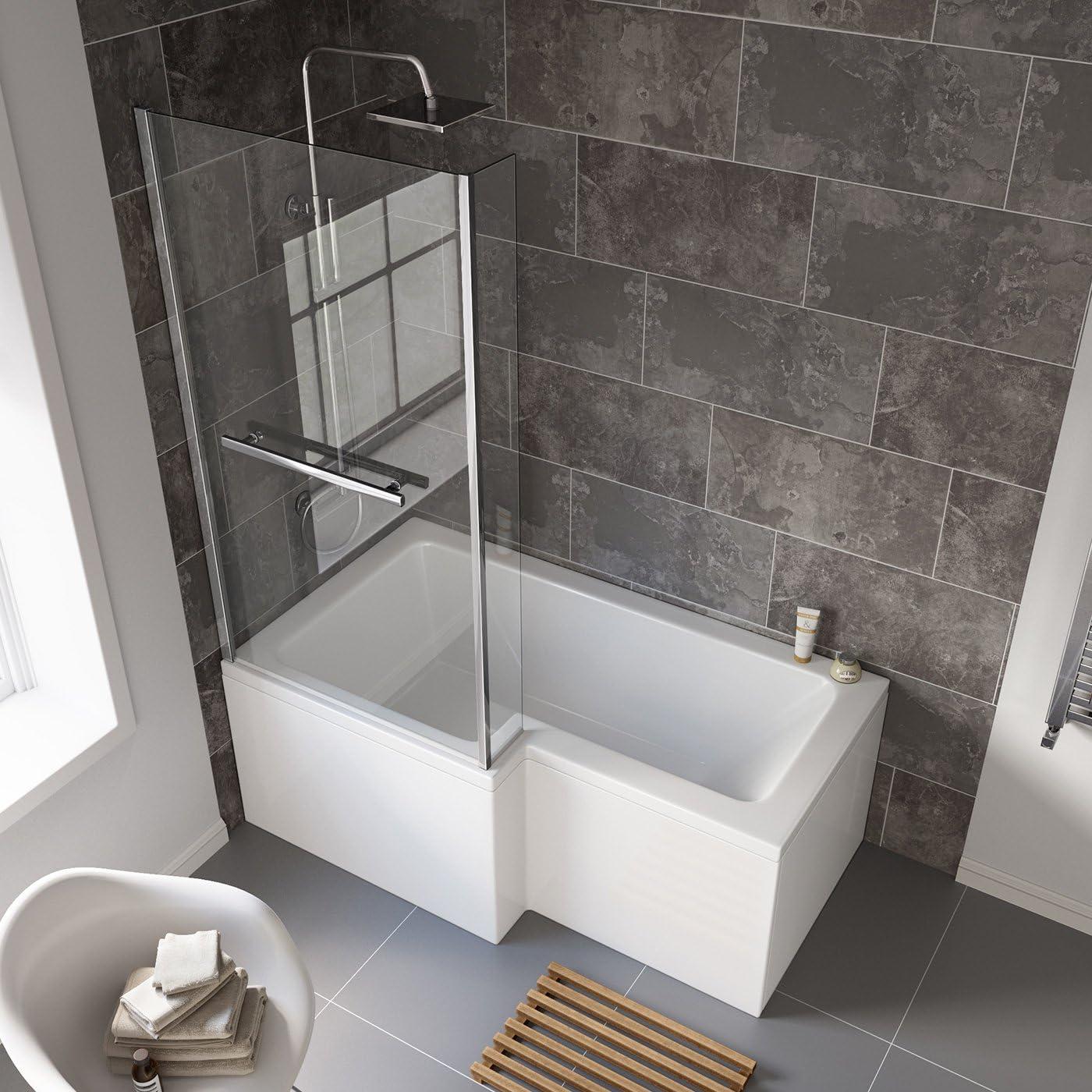 1500 mm para zurdos L-en forma de bañera con ducha recto con pantalla portátil para ducha + lado Panel para bañera: iBathUK: Amazon.es: Hogar
