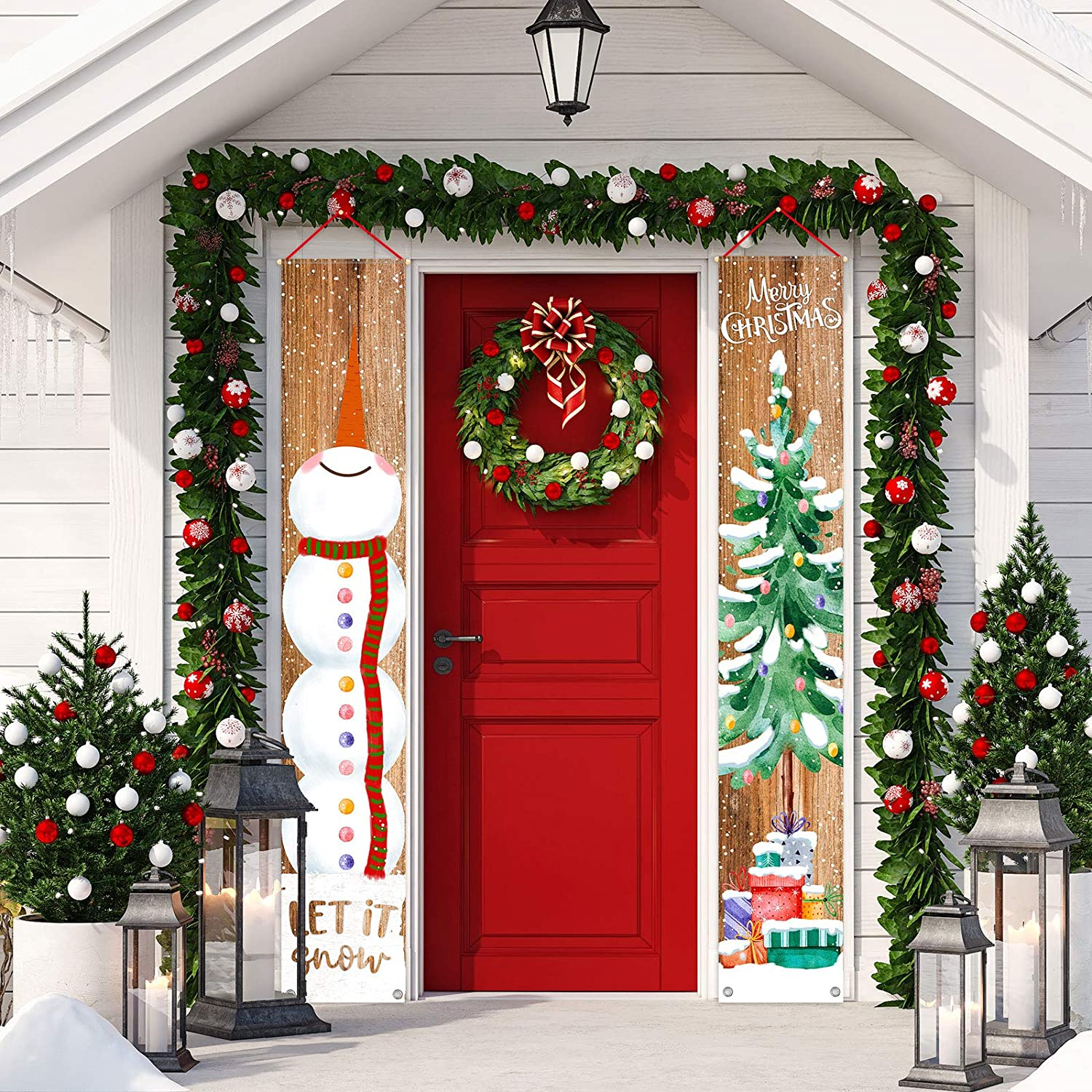 "Whaline Christmas Porch Sign Snowman Xmas Tree Hanging Banner Merry Christmas Door Sign for Holiday Home Indoor Outdoor Front Porch Wall Christmas Party Decoration, 12"" x 72"""