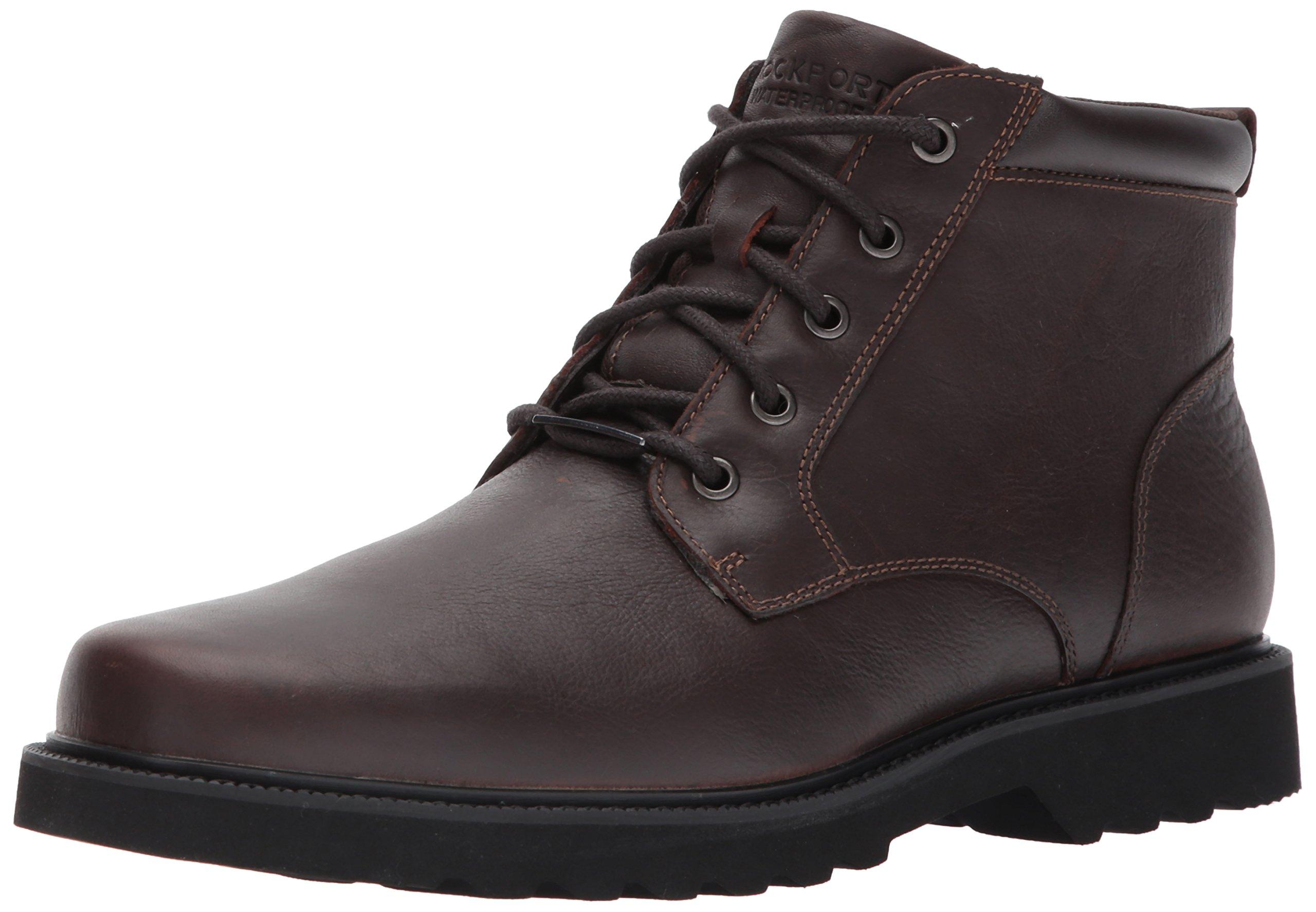 Rockport Men's Northfield WP Plain Toe Chukka Boot, Chocolate Waterproof, 10.5 XW US