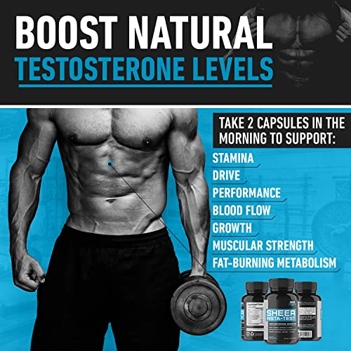 Extra Strength Testosterone Booster for Men – Promotes Fat Loss Lean Muscle Growth – Healthy Energy, Strength Stamina Supplement – L Arginine Tribulus – 60ct – Sheer Strength Labs