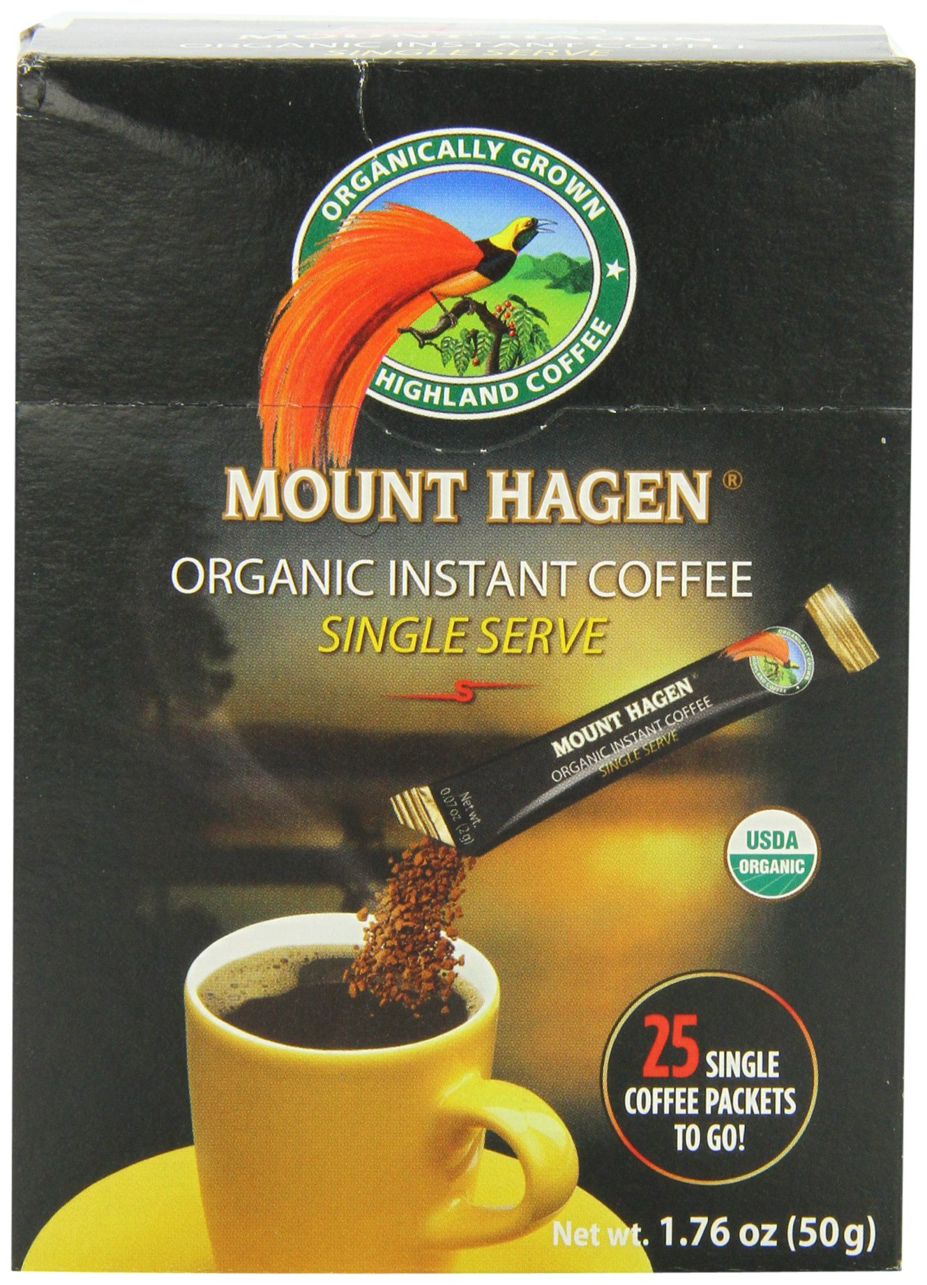 Mount Hagen Organic Instant Regular Coffee, 25-Count Single Serve packets (Pack of 4) by Mount Hagen (Image #1)
