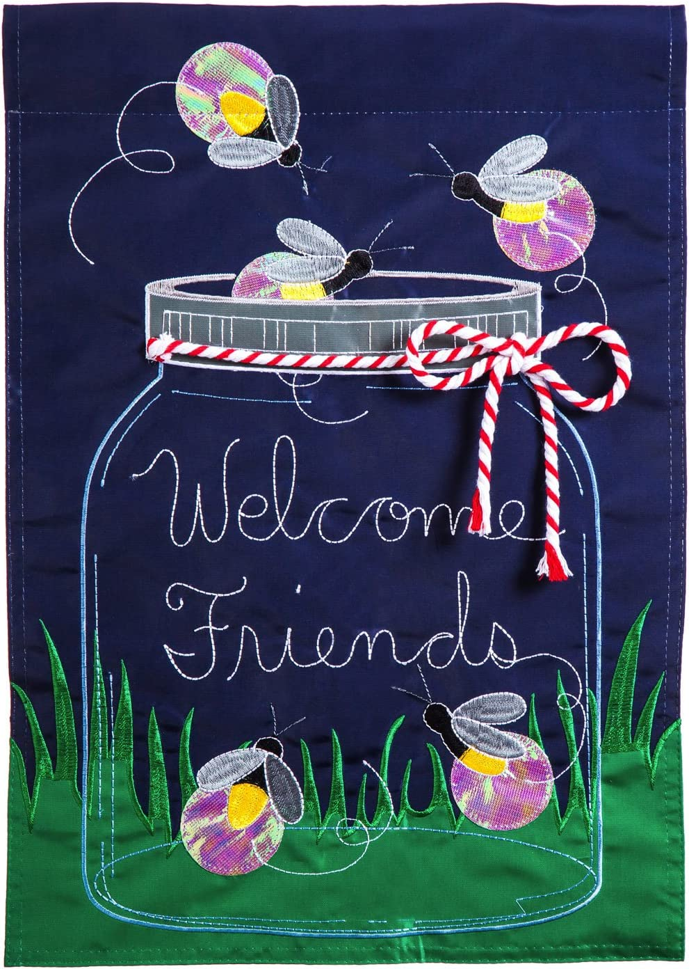 Evergreen Firefly Welcome Applique Garden Flag, 12.5 x 18 inches