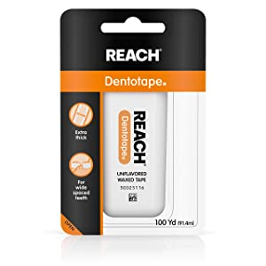 Reach Dentotape Waxed Dental Floss with Extra Wide Cleaning Surface for Large Spaces between Teeth, Unflavored, 100 Yards (Pack of 10)
