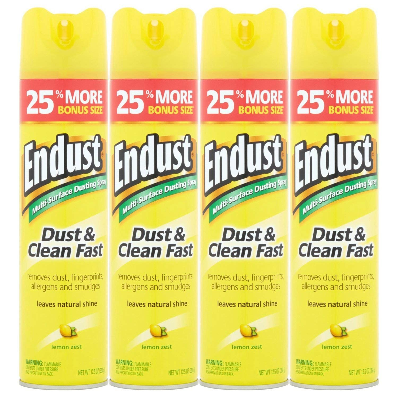 PACK OF 4 - Endust Lemon Zest Multi-Surface Dusting & Cleaning Spray, 12.5 oz