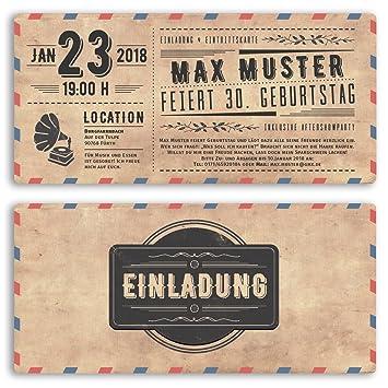 20 X Einladungskarten Geburtstag Vintage Ticket Retro Alt Look