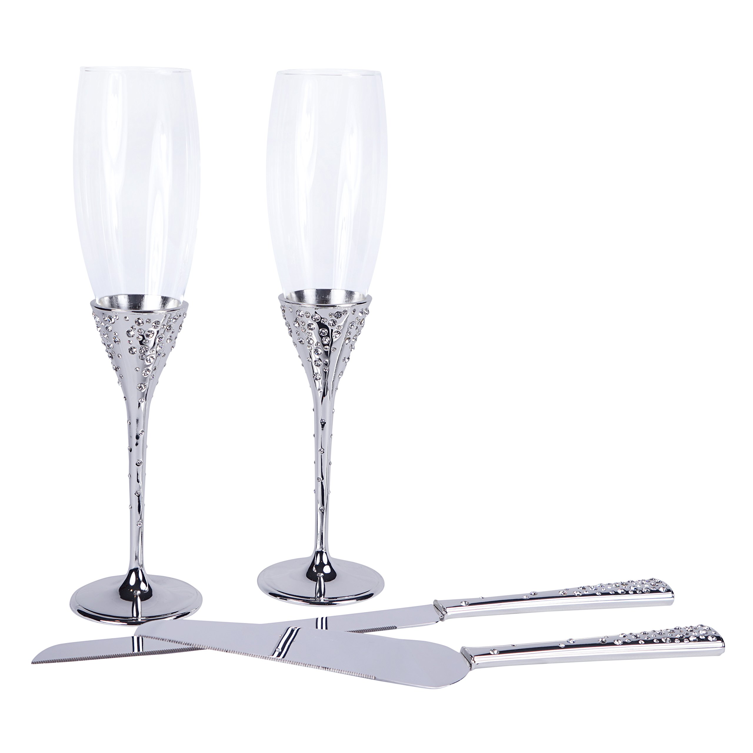 Crystal Collection Toasting Flutes & Cake Serving Set in Silver