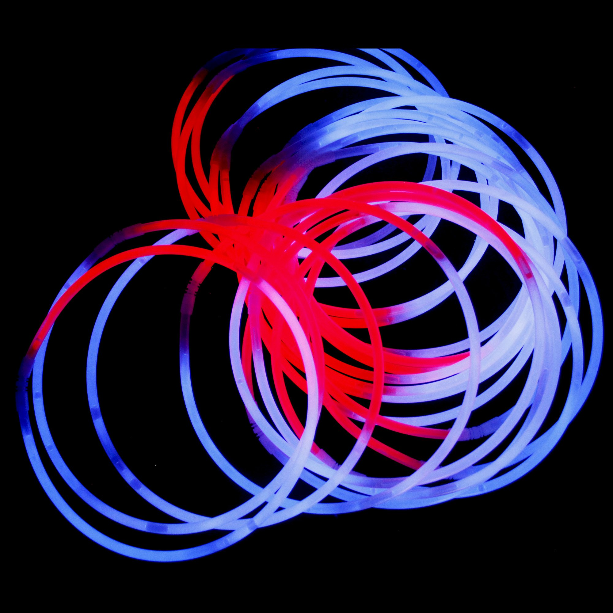 Fun Central J4, 50 Pcs 22 Inch Red-White-Blue Glow Stick Necklaces, Patriotic Necklace, Glow Necklace Bulk, Cool Glow Sticks, Glow Party Pack for 4th of July, Patriotic Party, Memorial Day by Fun Central (Image #6)