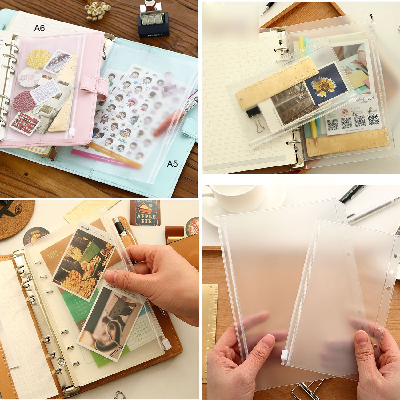 TM 1 for A5 binder, 1 for A6, 1 for A7 DadaCrafts 3-Packs Clear Plastic Zipper Pockets for 6-Ring Notebook Binder