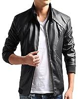 ZSHOW Men's Casual Faux Leather Jacket Waterproof Motorcycle Jacket Windbreaker