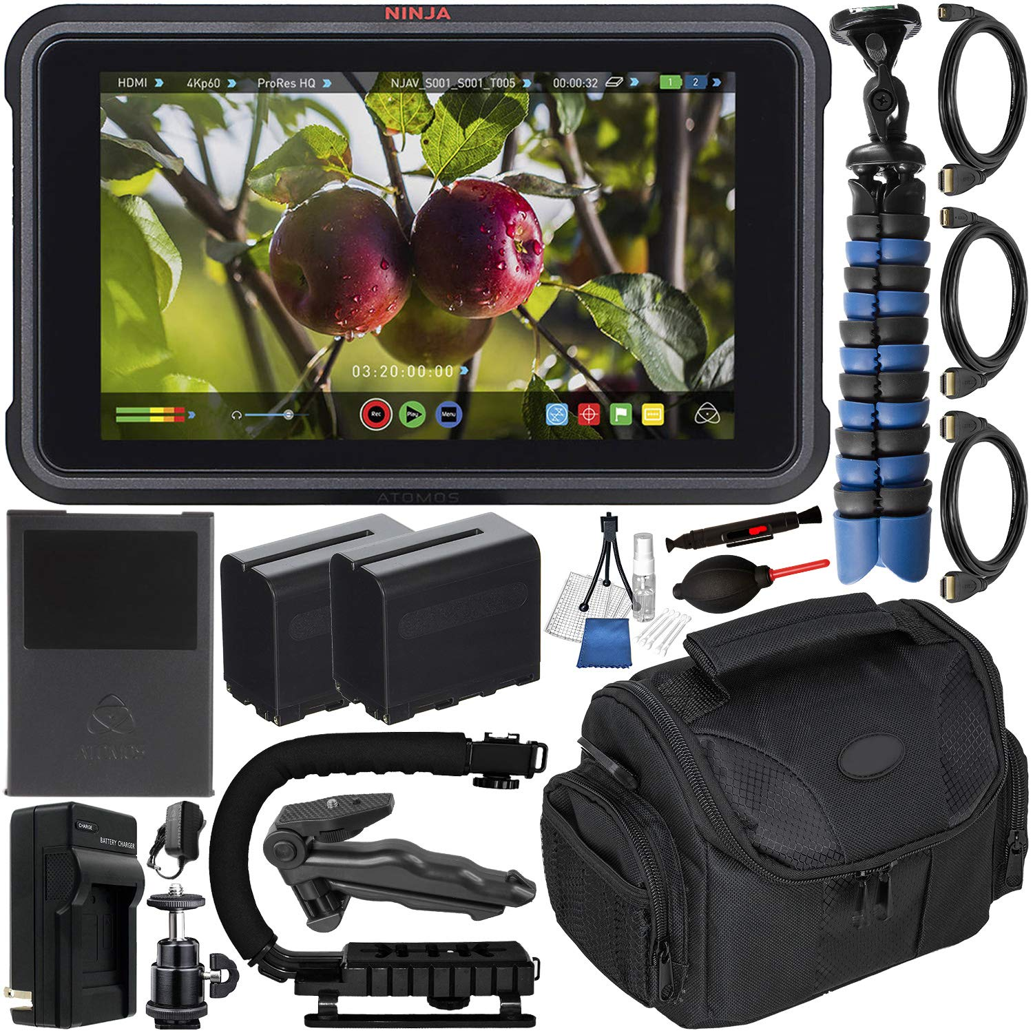Atomos Ninja V 5'' 4K HDMI Recording Monitor with Deluxe Accessory Bundle - Includes: 2X Extended Life NP-F975 Batteries with Charger; Micro, Mini, Standard HDMI Cables; Action Grip Stabilizer & More by Atomos