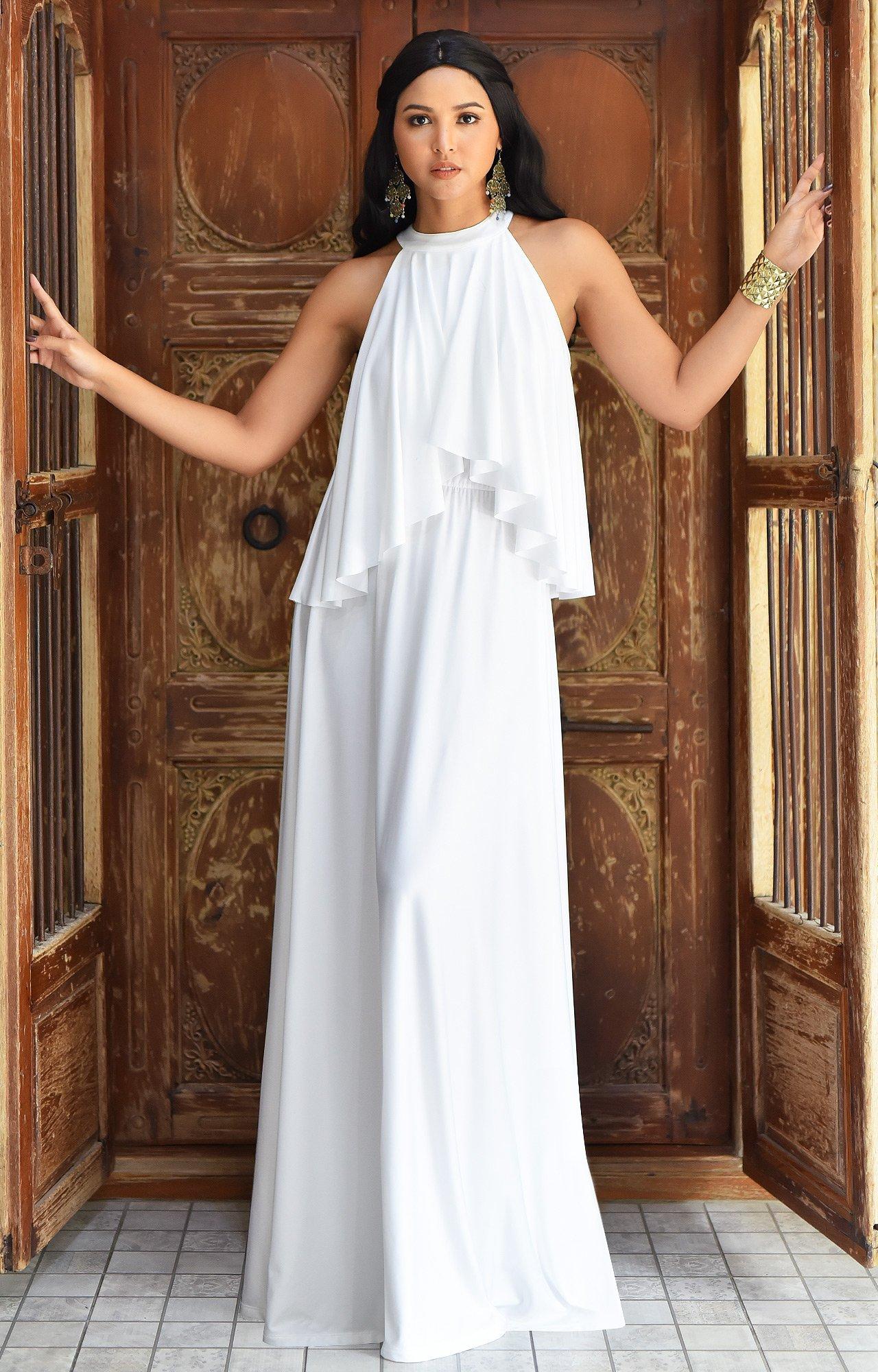 b56b730be62 KOH KOH Petite Womens Long Sleeveless Halter Neck Flowy Bridesmaid ...