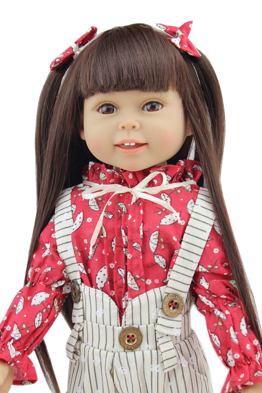 18 Pulgadas Niño Regalos largo pelo negro América Girl muñecas realista muñeca bebé juguetes