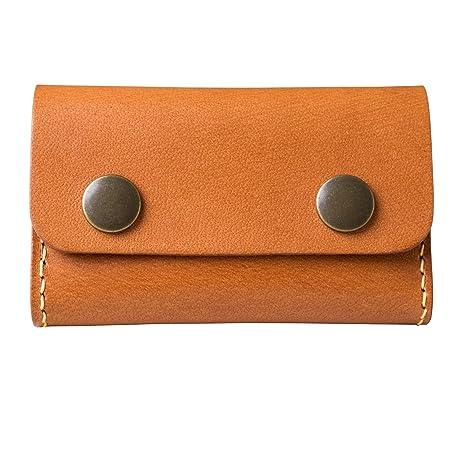Cuero con broches hechas a mano tarjetero piel marrón con caja de regalo