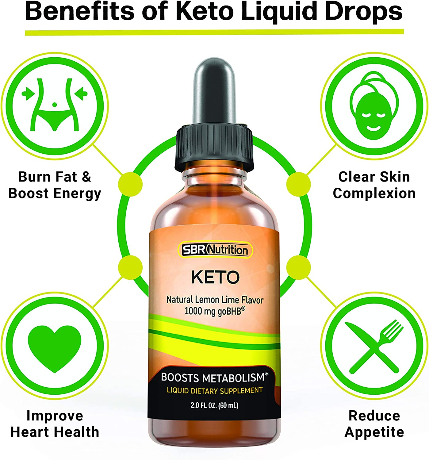 Keto Liquid Drops   Support Ketosis, Boost Energy & Metabolism, Create Energy from Fat, Manage Appetite, Cravings   Dietary Supplement   For Women, Men   2 Fl. Oz