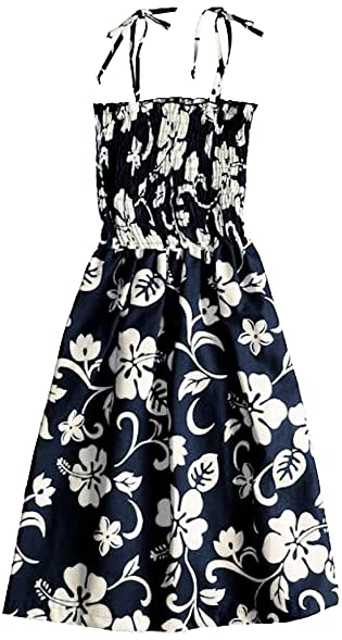 RJC Womens Classic Hibiscus Elastic Tube Top Sundress in Navy Blue - XS