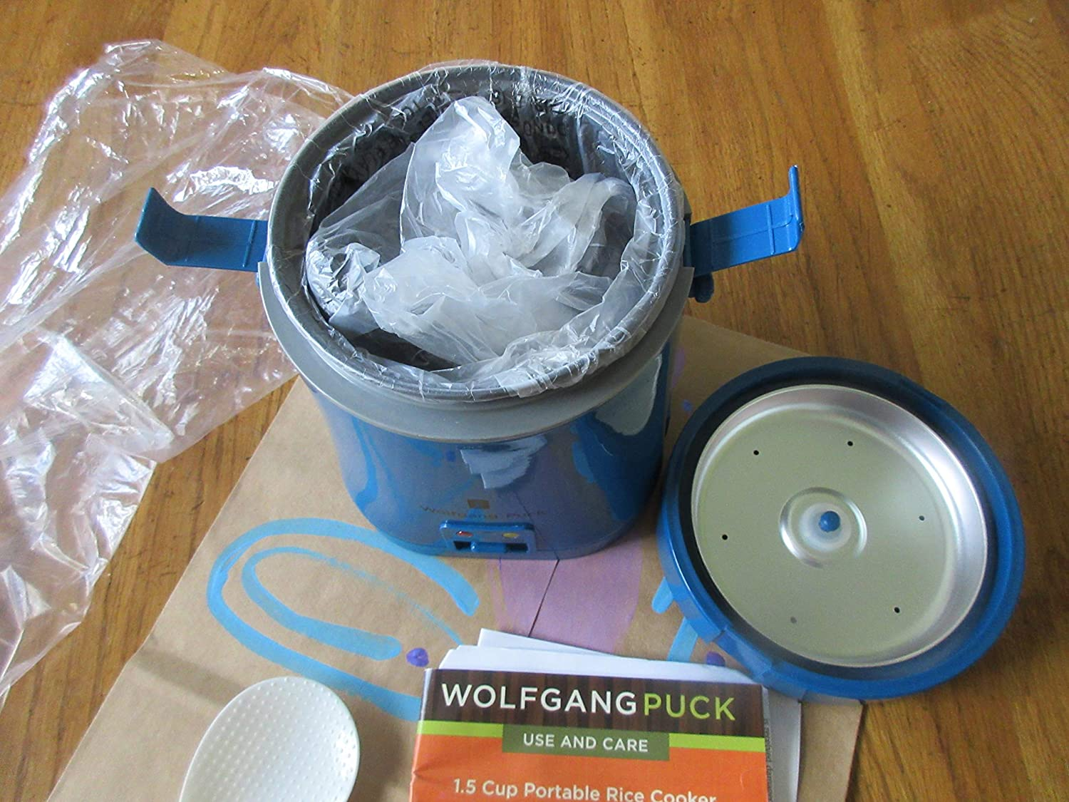 New Blue Wolfgang Puck 1.5 Cup Portable Cooker with Egg Cooker Insert Rice