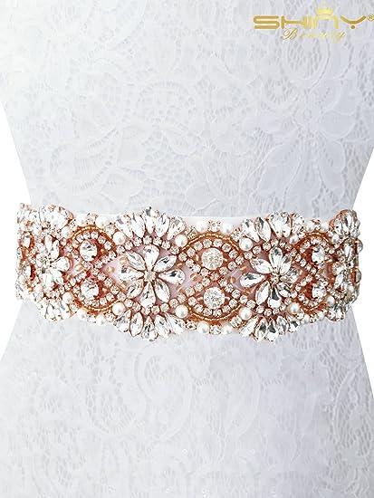 Crystal Bridal Dress Belt for Women AW Rhinestone Wedding Sash Belt White