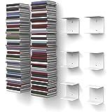 6livres invisible étagères blanches avec 12compartiments jusqu'à 300cm de haut livres empilable pour livres jusqu'à 22cm de profondeur.