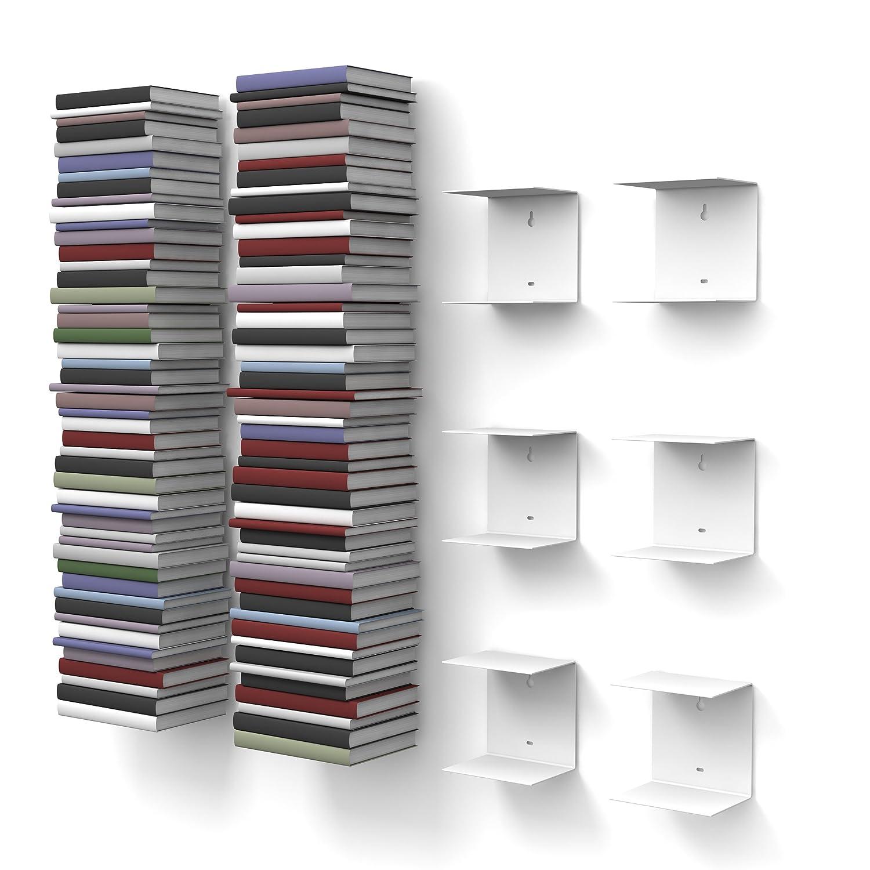 home3000-6 Mensole libreria, invisibili, colore: Bianco, con 12 scomparti, altezza:fino a 300 cm, per mettere i libri in pila, per libri con profondità fino a 22 cm 2011KW2X3