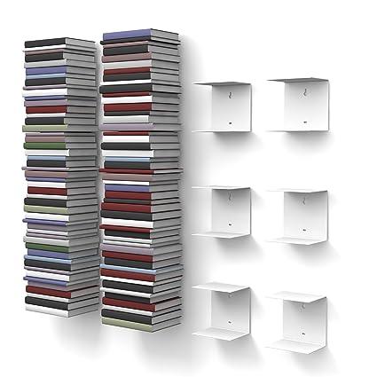 home3000-6 Mensole libreria, invisibili, colore: Bianco, con 12 ...