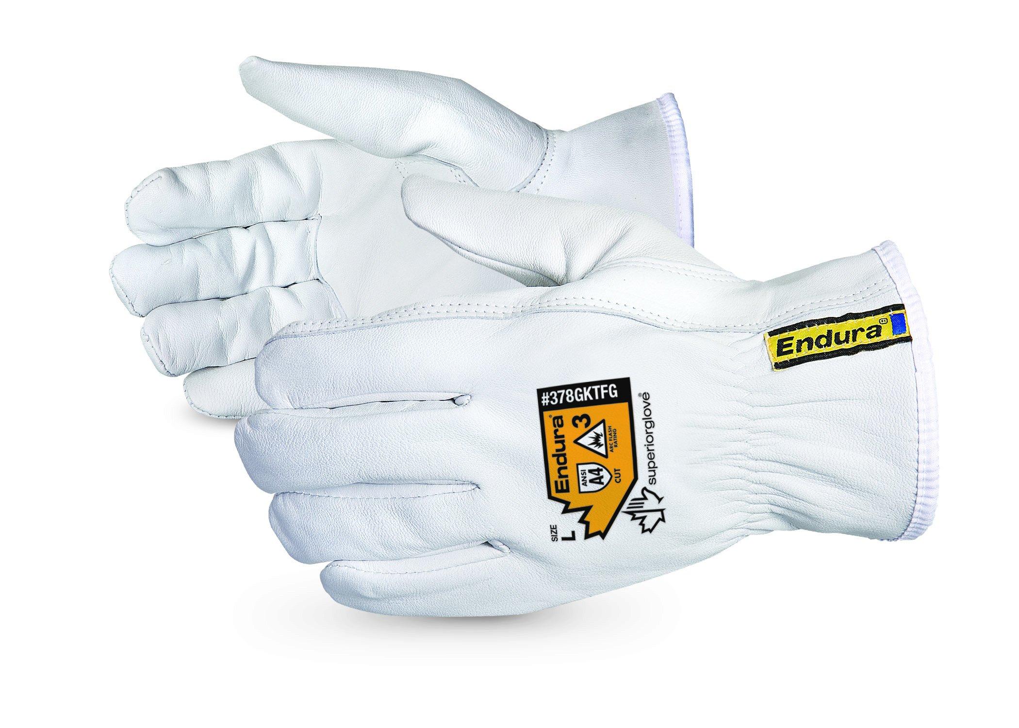 Superior Goatskin Leather Work Gloves - Kevlar Lined Cut Resistant, Arc Flash Safety Work Gloves (Endura-378GKTFG) Large