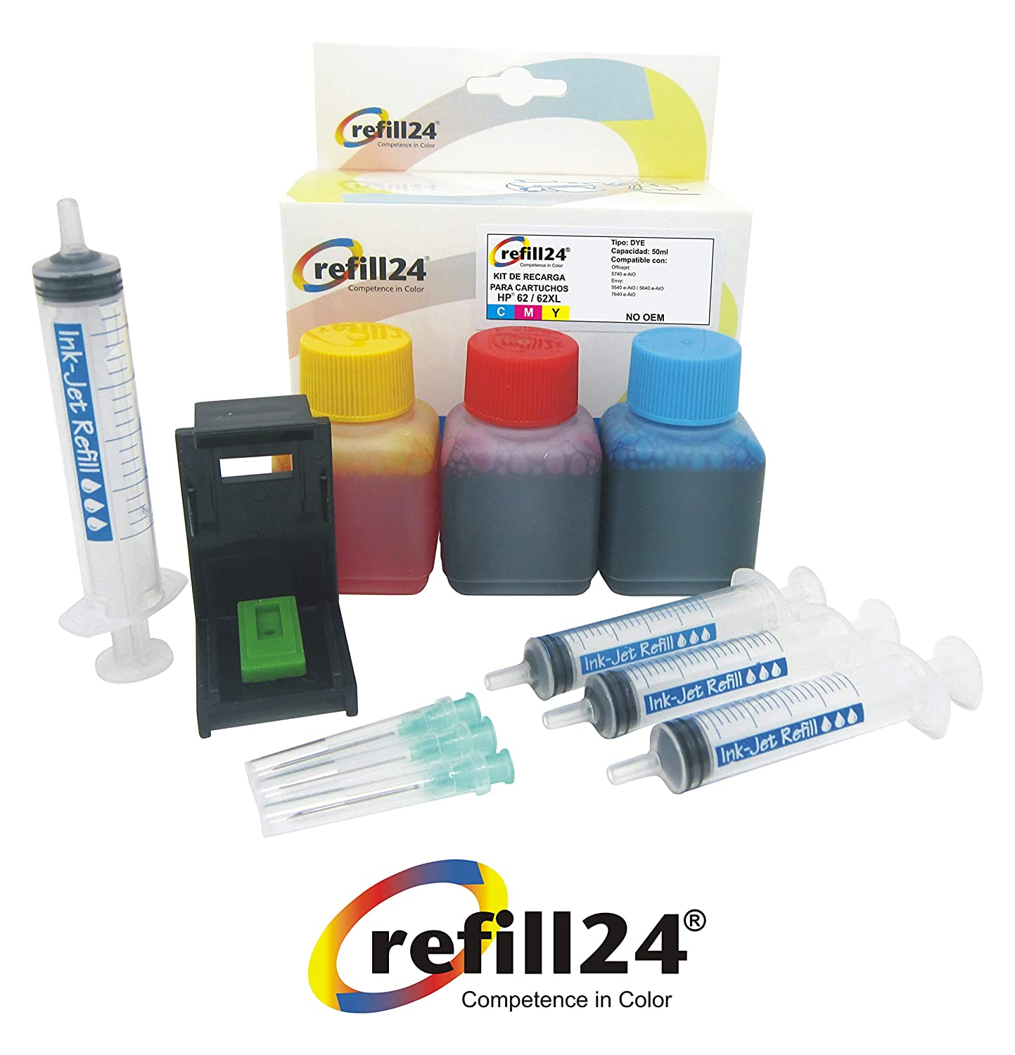 Kit de Recarga para Cartuchos de Tinta HP 62, 62 XL Color, Incluye ...