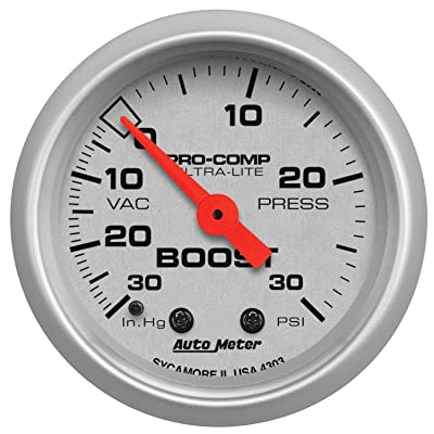 Auto Meter 4303 Ultra-Lite Mechanical Boost/Vacuum Gauge: Automotive